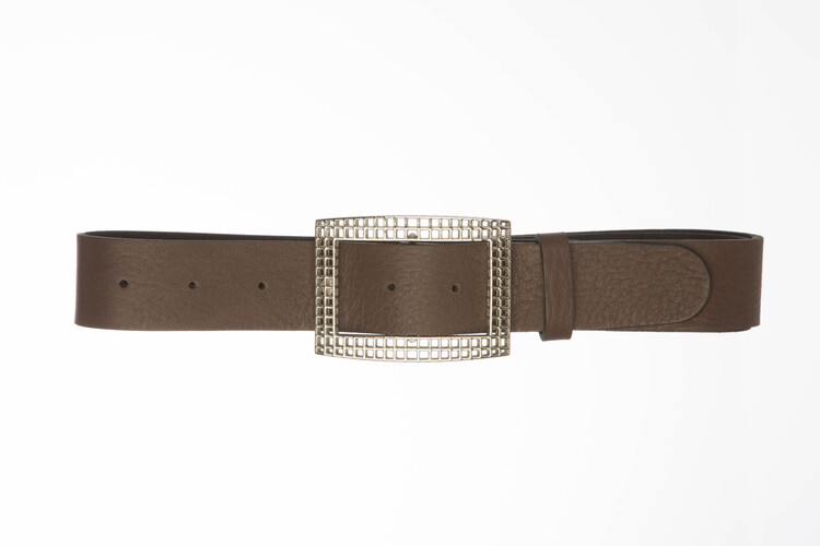 GAIA – Leather belt with rectangular buckle