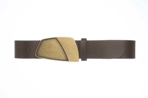 HESTIA – Leather belt with antique gold buckle
