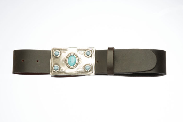 NIX – Leather Belt with rectangular and turquoise buckle